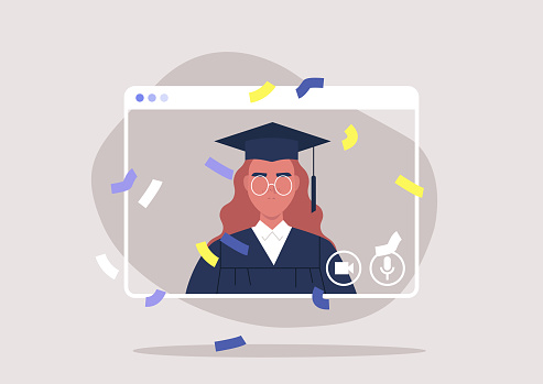 social distancing, online education, self isolated female student attending a Graduation 2020 ceremony via video call