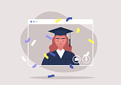istock social distancing, online education, self isolated female student attending a Graduation 2020 ceremony via video call 1221522421