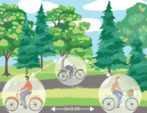 Social Distancing - People Riding Bikes vector art illustration