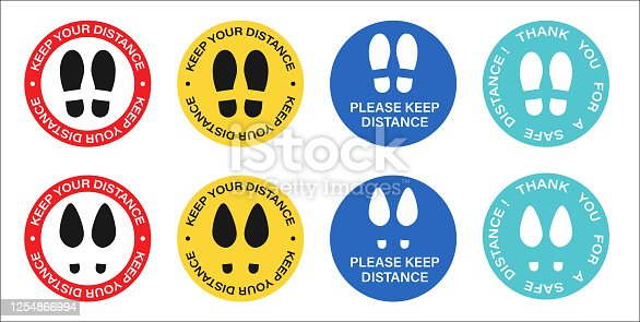 Social distancing, Please Stand Here, Keep Your Distance Floor Marking Stickers. Text and Shoeprint. Lift, Elevator Caution. Coronavirus Vector illustration