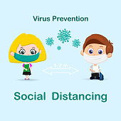 Young boy and girl with protection from viruses breathing masks and social distancing