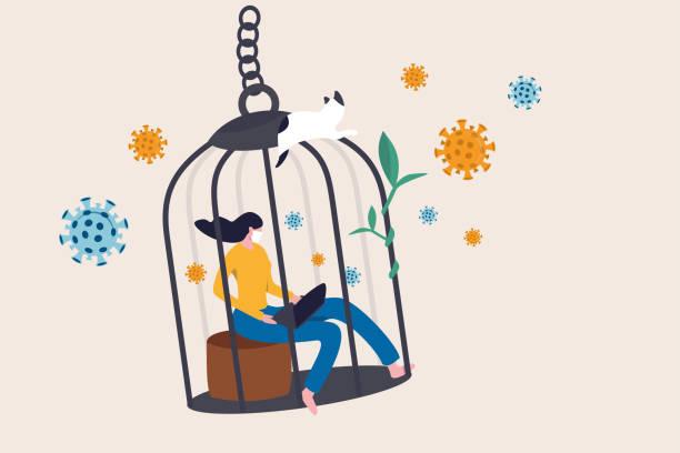 illustrazioni stock, clip art, cartoni animati e icone di tendenza di distanziamento sociale, auto quarantena e isolamento per viaggiatore o persona che ha sintomi sul concetto di influenza coronavirus covid-19, donna che lavora a casa in patogeni gabbia di uccelli come pandemia di virus covid-19. - lockdown