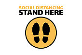 Social distancing sign. COVID-19 coronavirus prevention. Template for background, banner, poster with text inscription. Vector EPS10 illustration