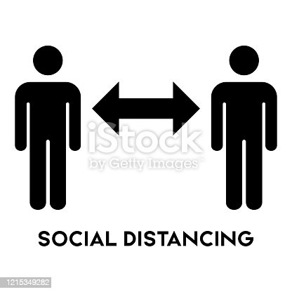 Social Distancing sign icon vector.