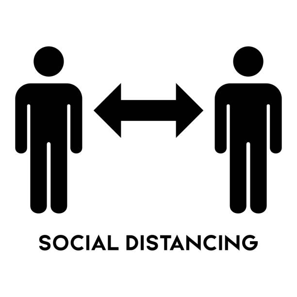 social distancing sign icon vector. - social distancing stock illustrations