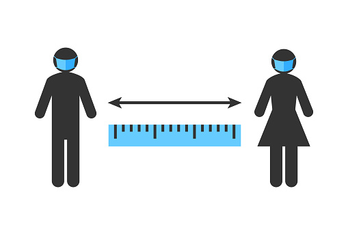 Social distancing sign with stick figure people wearing face masks and standing apart
