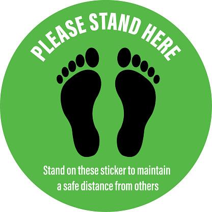 Social Distancing Signage Floor Sticker