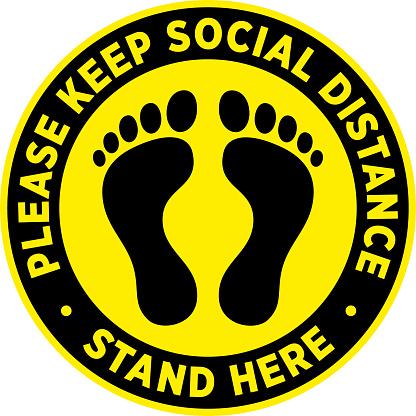 Social Distancing Signage or Floor Sticker.