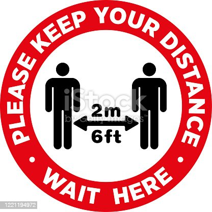 istock Social Distancing Signage or Floor Sticker. 1221194972