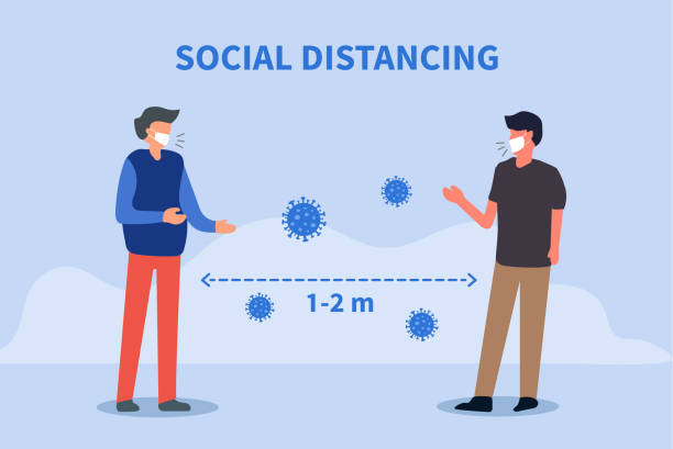 Social distancing. Space between people to avoid spreading COVID-19 Virus. Keep the 1-2 meter distance. Vector illustration Social distancing. Space between people to avoid spreading COVID-19 Virus. Keep the 1-2 meter distance. Vector illustration distant stock illustrations
