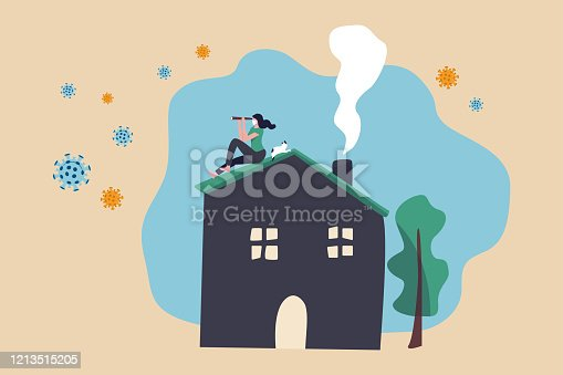 istock Social Distancing, stay at home in COVID-19 virus outbreak, employee work at home to prevent virus infection, young woman sit on house roof with cat using telescope spying COVID-19 virus pathogens 1213515205