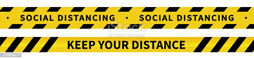 Social distancing tape. Warning Covid-19 tapes. Black and yellow line striped. Vector illustration