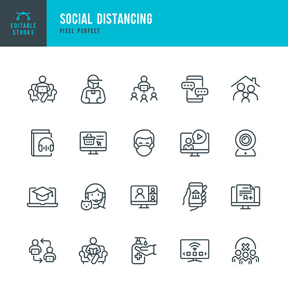 Social Distancing - thin line vector icon set. Pixel perfect. Editable stroke. The set contains icons: Social Distancing, Remote Work, Quarantine, Video Conference, Working At Home, Delivery Person, E-Learning.