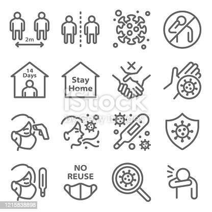 Social distancing to protect from coronavirus disease COVID-19 icon set vector illustration. Contains such icon as mask, quarantine, cough, self isolation, temperature check and more. Expanded Stroke
