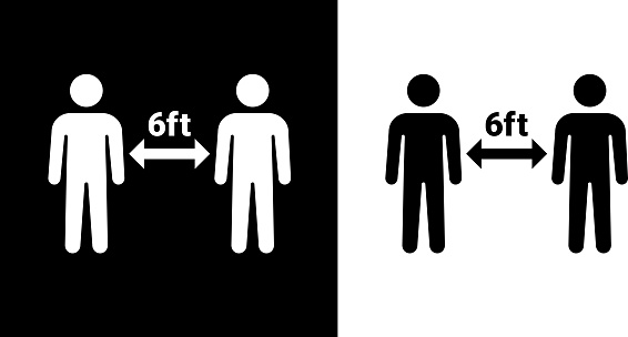 Social Distancing Two People Icon. This 100% royalty free vector illustration is featuring the square button and the main icon is depicted in black and in white with a black icon on it.