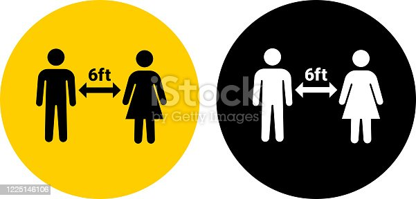 Social Distancing Two People Icon. This 100% royalty free vector illustration is featuring a round button in yellow with the main icon depicted in black. There is an alternative black and white version on the right.
