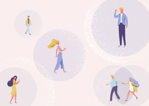 Social distancing vector design concept. Pattern background about keep distance in public society people to protect each other. Crowd of people with distance during an epidemic coronavirus disease vector art illustration