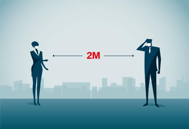 Social Distancing vector art illustration