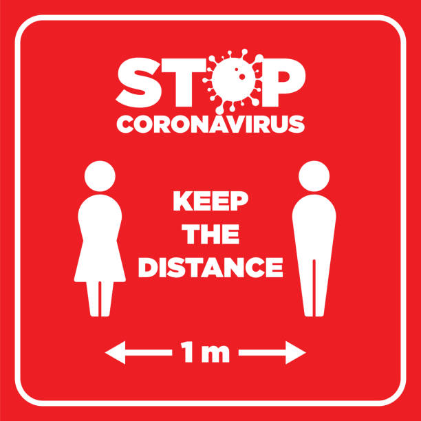illustrazioni stock, clip art, cartoni animati e icone di tendenza di social distancing warning sign. warning in a red sign about coronavirus or covid-19 vector illustration - didattica a distanza