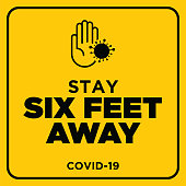 Social Distancing warning sign. Warning in a yellow sign about coronavirus or covid-19 vector illustration