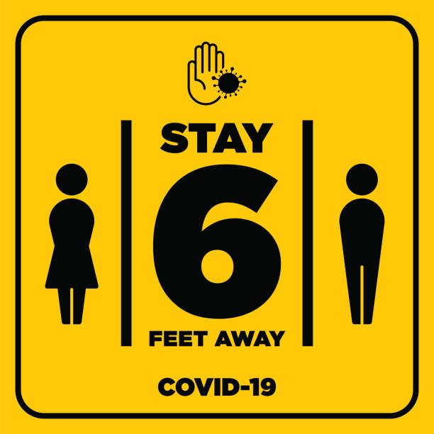 social distancing warning sign. warning in a yellow sign about coronavirus or covid-19 vector illustration - covid 19 stock illustrations