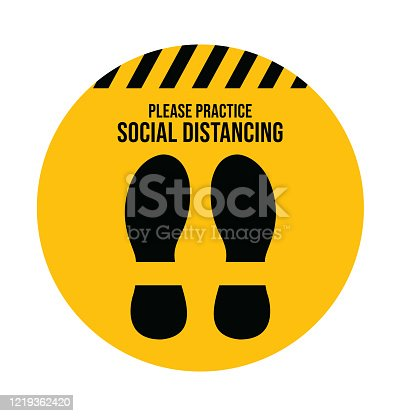 istock Social Distancing. Wuhan coronavirus outbreak influenza as dangerous flu strain cases as a pandemic concept banner flat style illustration stock illustration 1219362420