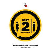 Social Distancing. Wuhan coronavirus outbreak influenza as dangerous flu strain cases as a pandemic concept banner flat style illustration stock illustration