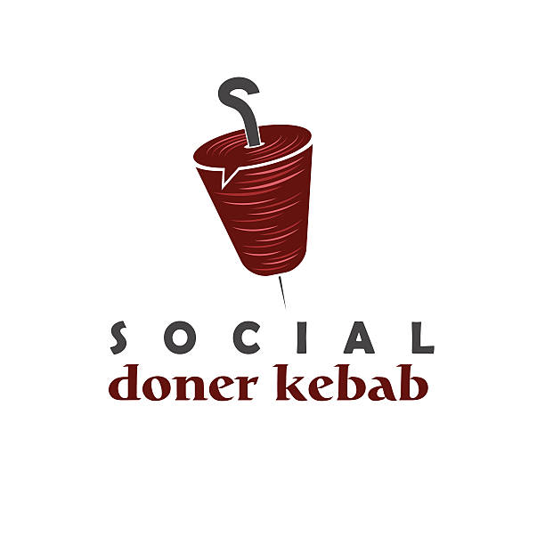 soziale doner kebab-konzept-vektor-design-vorlage - döner stock-grafiken, -clipart, -cartoons und -symbole