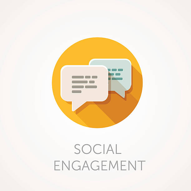 Social Engagement Icon. Flat design style with long shadow vector art illustration