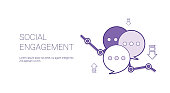 Social Engagement Web Banner With Copy Space Business Content Marketing Concept