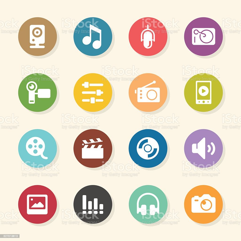 Social Entertainment Icons - Color Circle Series vector art illustration