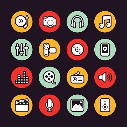 Social Entertainment icons - Regular Outline - Circle