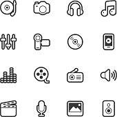 Social Entertainment icons - Regular Outline Vector EPS File.