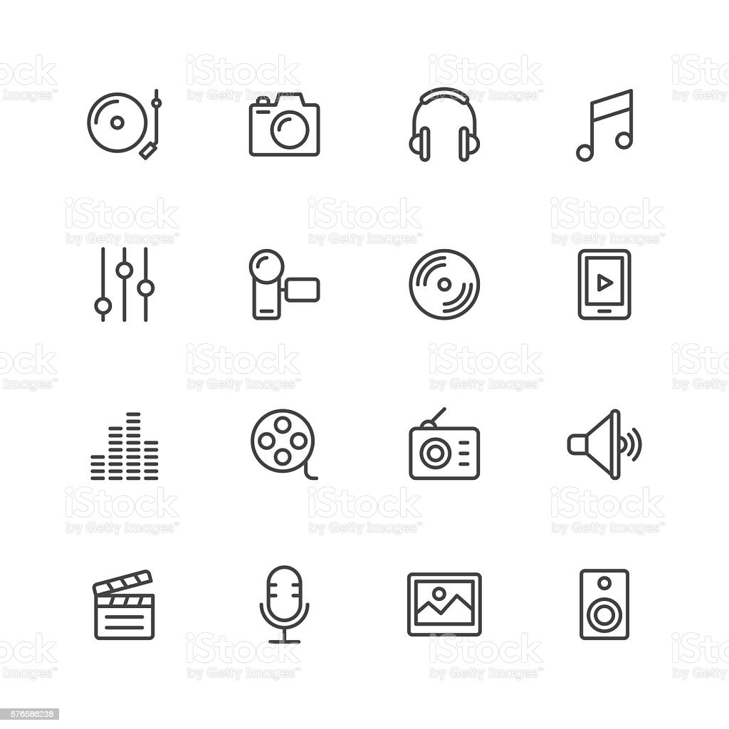 Social Entertainment icons vector art illustration