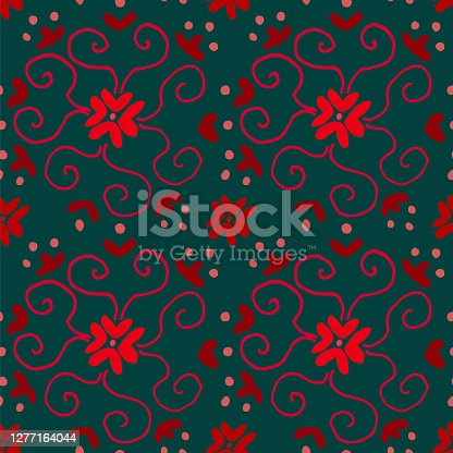 seamless pattern of flowers and curls in blue and red
