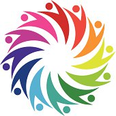 Social friendship circle in hug partnership logo icon