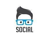 Social geek vector icon