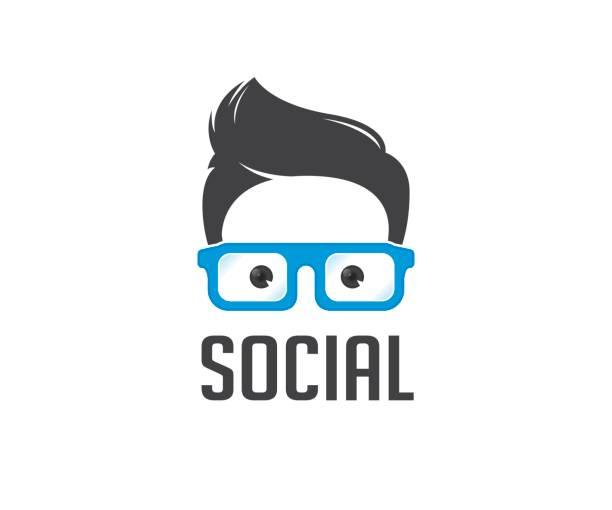 soziale geek vektor icon - uncool stock-grafiken, -clipart, -cartoons und -symbole