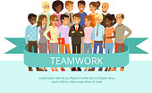 Social group on the work. Office people in casual clothes. Big corporate family. Vector characters in cartoon style. Team work group people, business teamwork company cooperation illustration