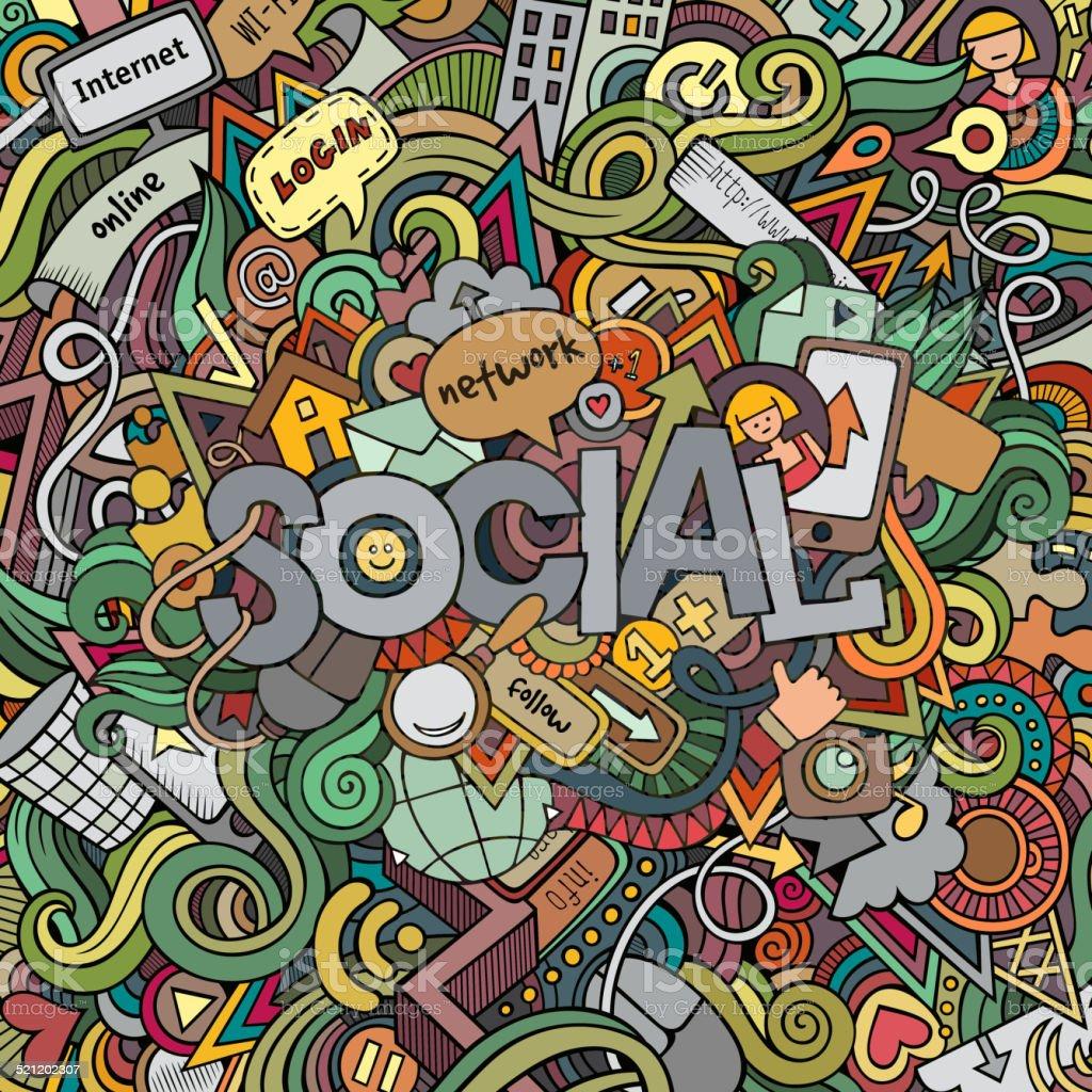 Social hand lettering and doodles elements background vector art illustration