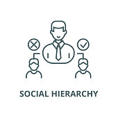Social hierarchy vector line icon, linear concept, outline sign, symbol