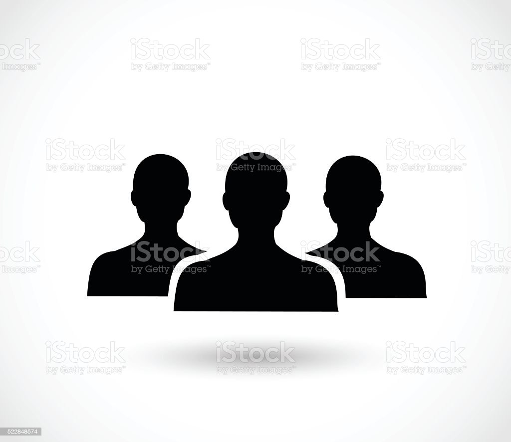 Social icon vector - three men silhouettes vector art illustration
