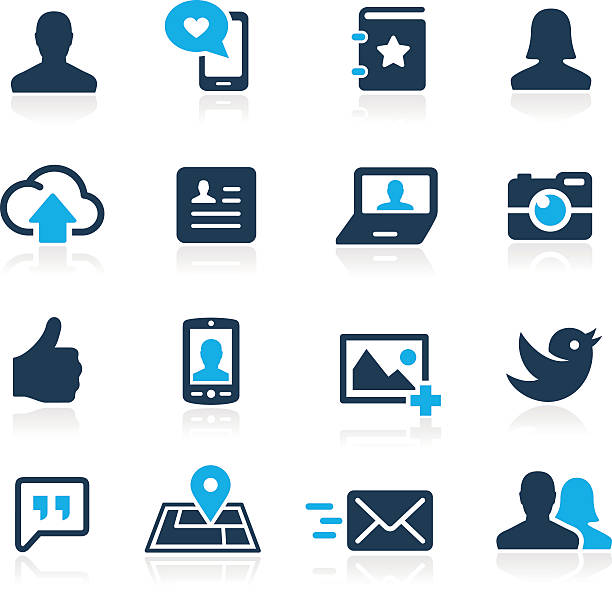 soziale symbole-azure serie - fotohandy stock-grafiken, -clipart, -cartoons und -symbole