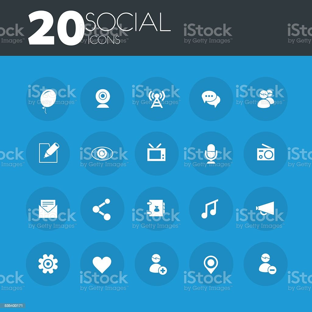 Social icons on round blue buttons vector art illustration