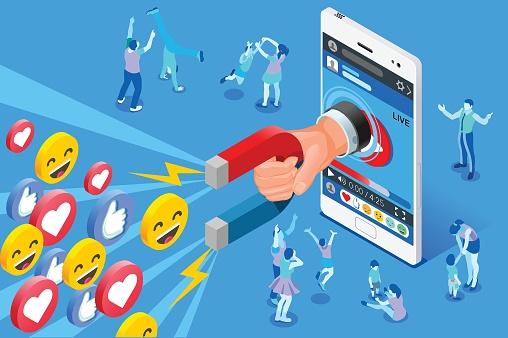 Social sharing stock illustrations