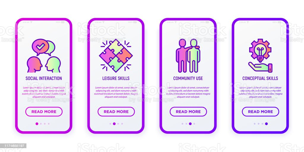 Social Interaction Of People With Autism Communication Leisure Skills Community Use Conceptual Skills Thin Line Icons In Mobile User Interface Modern Vector Illustration For Medical App Stock Illustration Download Image Now