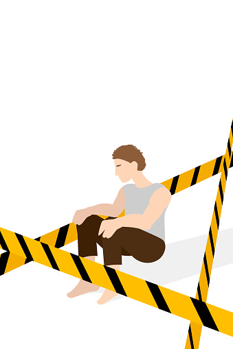 Social isolation, distance yourself alone. person is sitting behind a restraining tape
