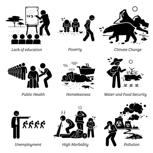 social issues and critical problems pictogram icons. - unemployment stock illustrations