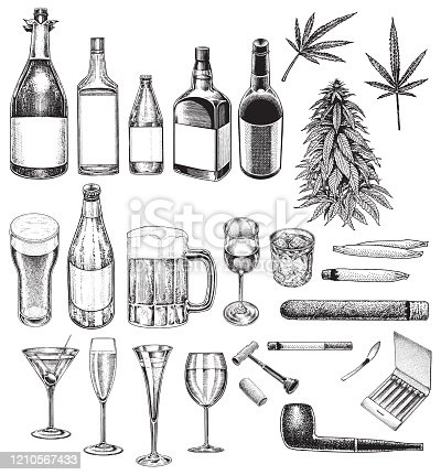Pen and ink illustrations of Social Issues, Vices, Bad Habits, Smoking, Drinking, Recreational Drugs. Group of objects