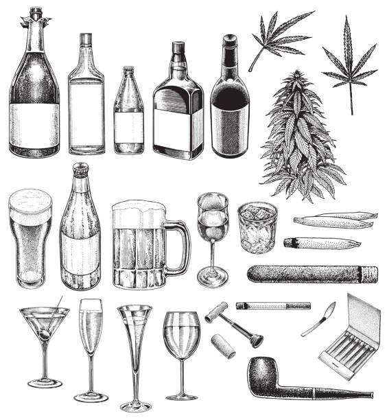 Social Issues, Vices, Bad Habits, Smoking, Drinking, Recreational Drugs Pen and ink illustrations of Social Issues, Vices, Bad Habits, Smoking, Drinking, Recreational Drugs. Group of objects alcohol drink drawings stock illustrations